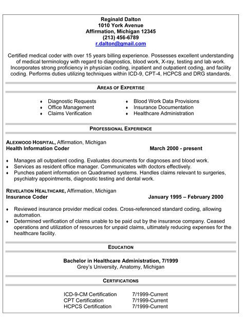 Government Resume Cover Letter Examples -    jobresumesample - medical coder resume