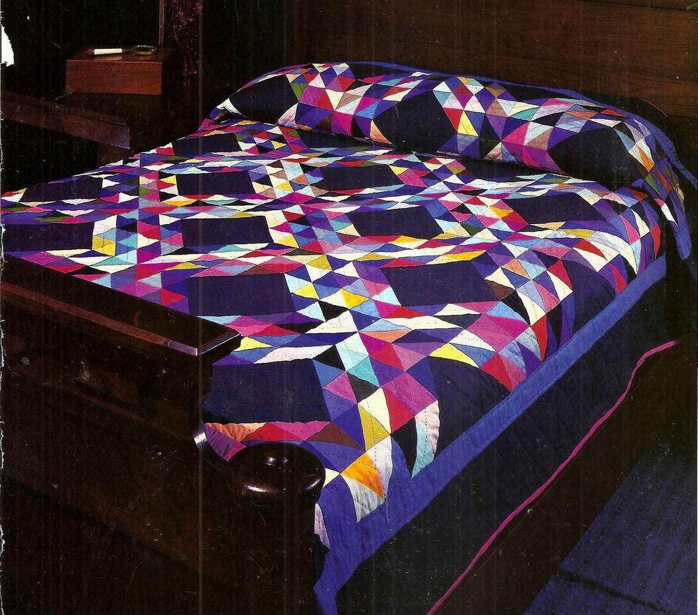 Ocean Waves Amish Style Patchwork Amp Block Vintage Quilt