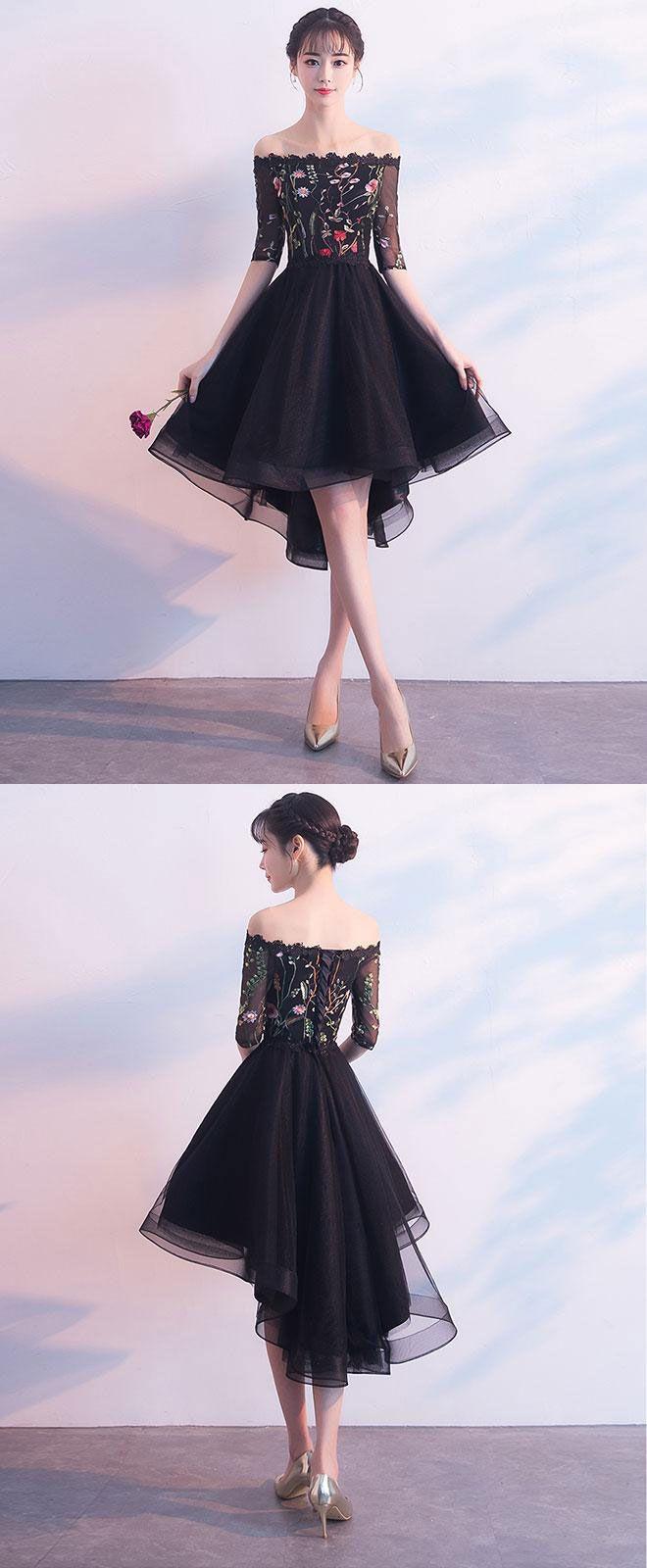 Black tulle lace short prom dress black evening dress c ulzzang