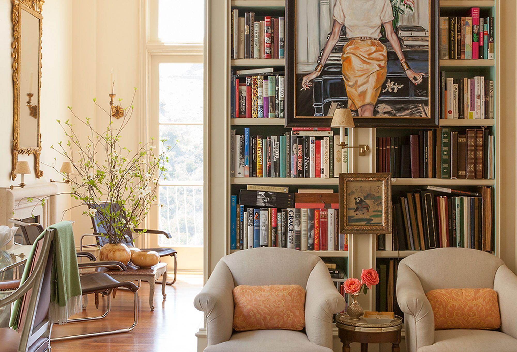 Librarian Chic Living room wallpaper border, Living room