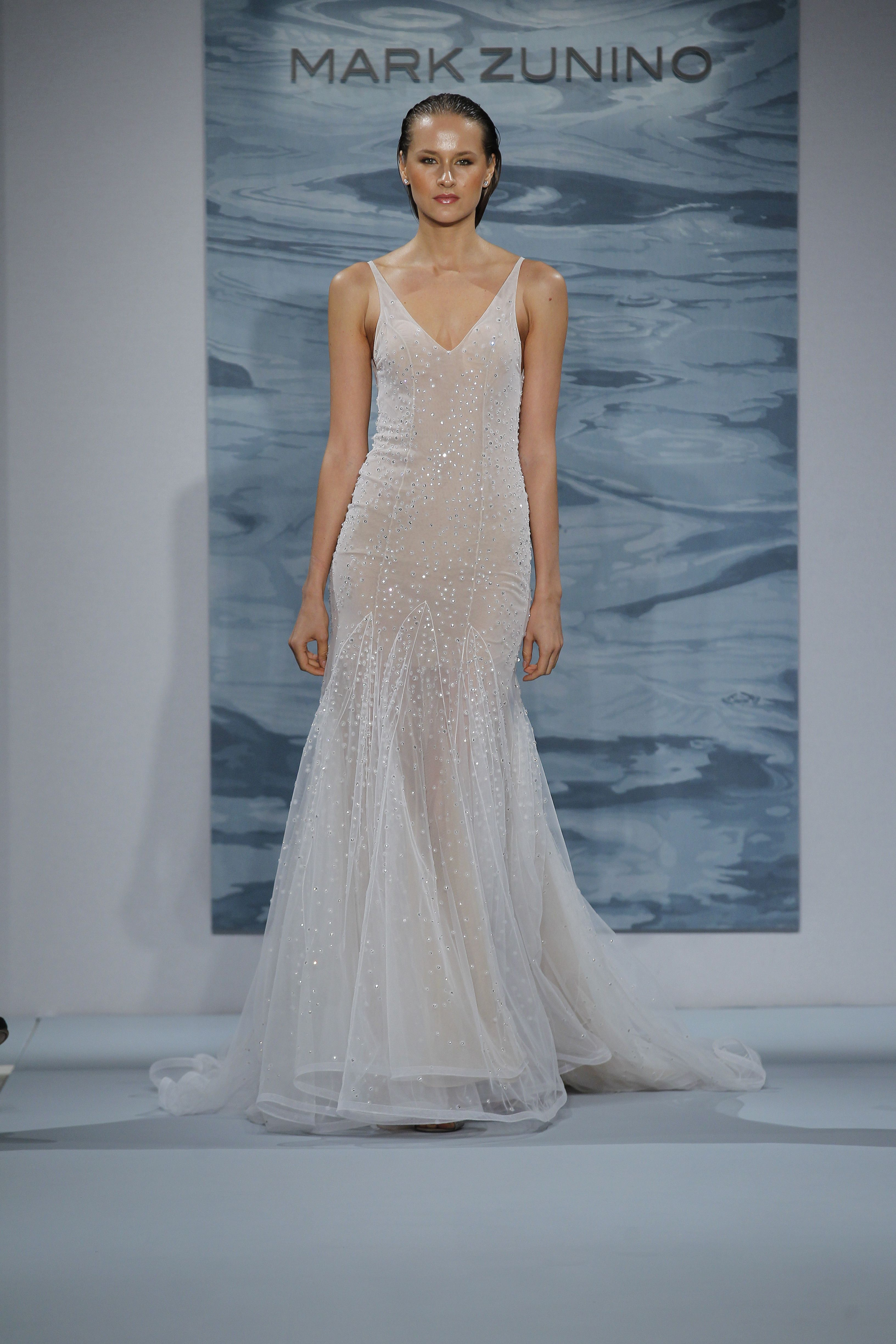 White over nude crystal stoned illusion flared gown wedding ideas