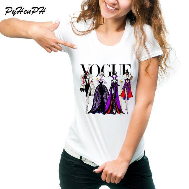 37a275d48 Vogue princesas patrón impreso camiseta Casual manga corta Harajuku Slim  mujeres camiseta camisetas de verano en