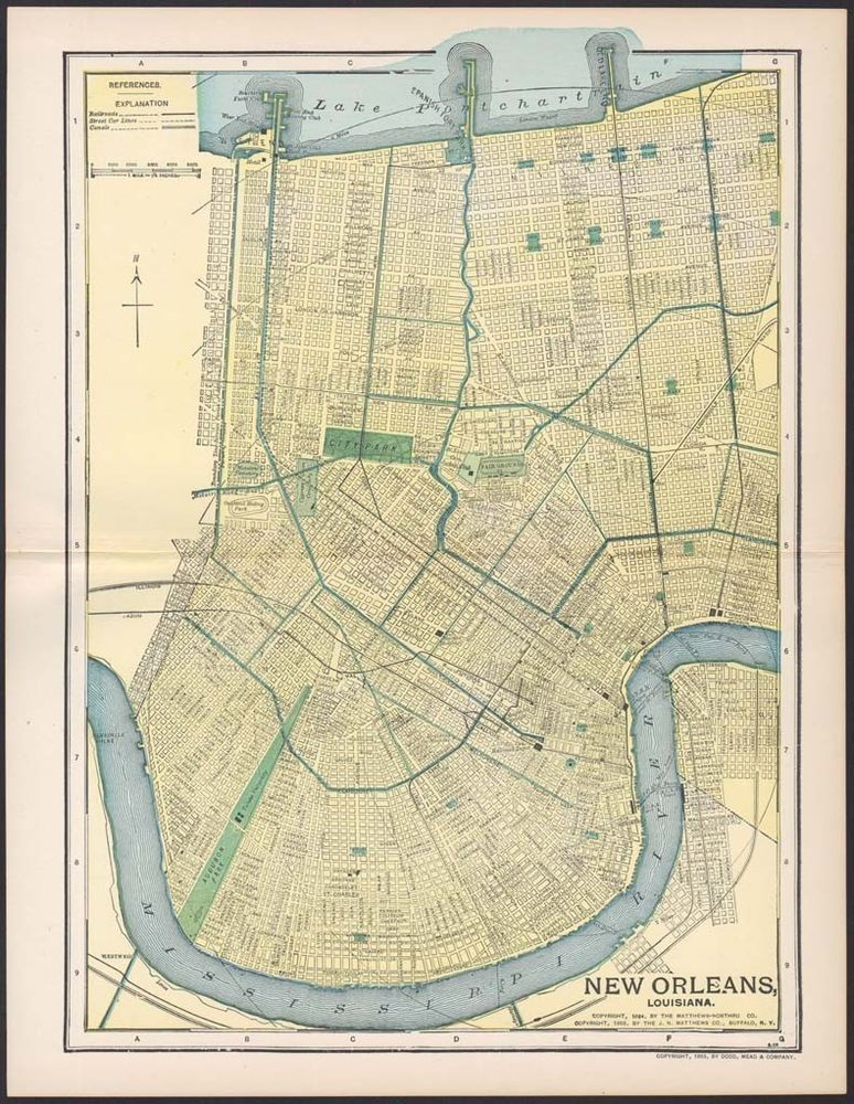 Antique New Orleans Map.Antique New Orleans Map W Railroads Street Cars Canals 1903 110