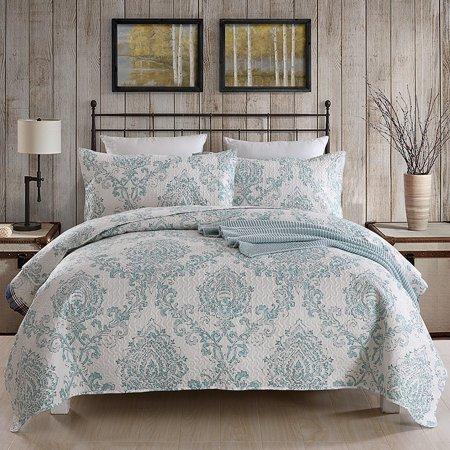 3 Piece Printed Lightweight Bedding Quilt Set Quilt And 2 Shams Soft Lightweight King White Lightweight Bedding Luxury Bedspreads Quilt Sets