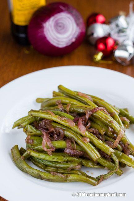 Ejotes salteados con cebolla morada receta receta - Comida para navidad facil ...