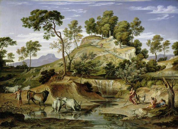 Joseph Anton Koch Landscape with shepherds and cows