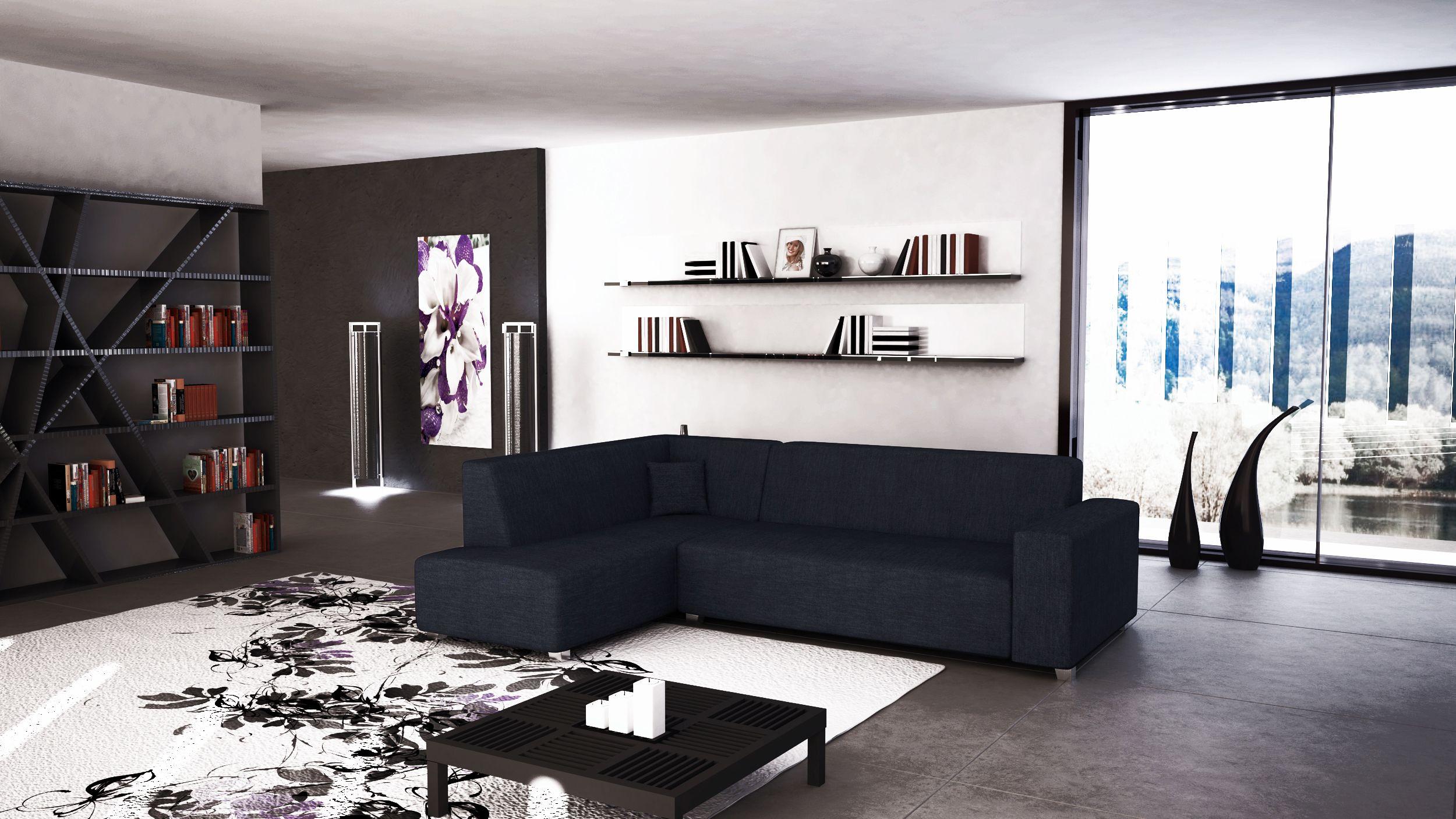 Sof cama tina de l nea minimalista tapizado en tela de color negro con chaise longue a la - Sofa cama minimalista ...