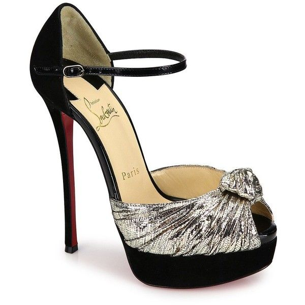 3baa3aba9f6 Christian Louboutin Marchavekel Knotted Lame D Orsay Platform Pumps  ( 1