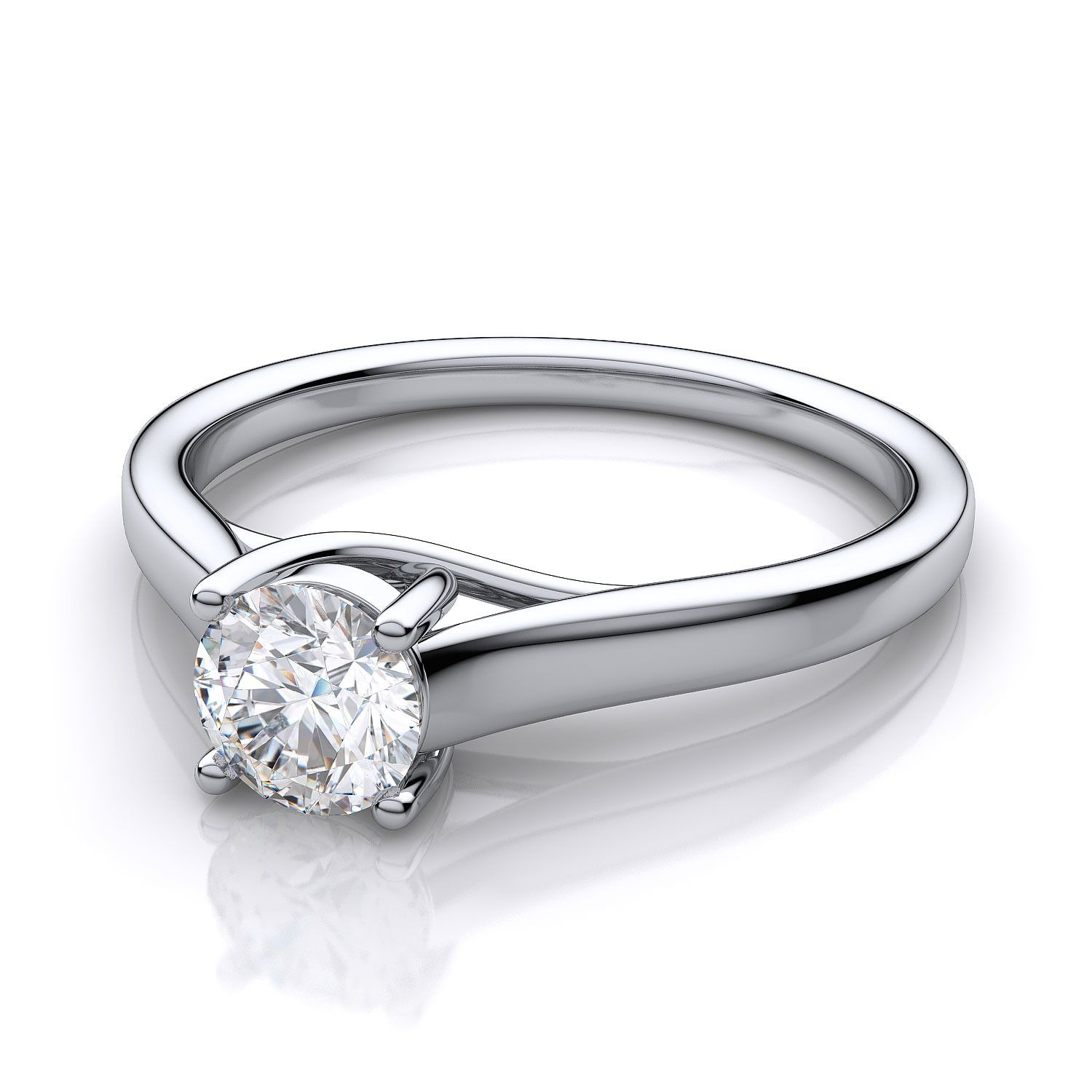 Under $1500 Engagement Rings! 25 Carat Trellis Style Round Diamond  Solitaire Ring In 14kt