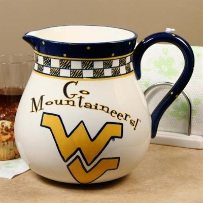 West Virginia Mountaineers Game Day Ceramic Pitcher Wvu Mountaineers Wvu West Virginia University West Virginia West Virginia Mountaineer Ceramic Pitcher