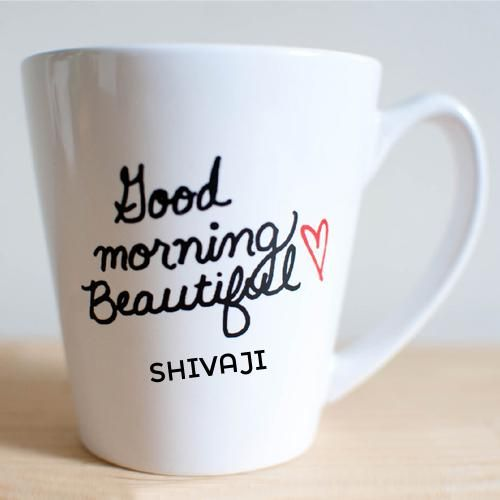 Write Your Name On Good Morning Heart Coffee Mug Pic.Beautiful Good Morning  Quotes Images With Your Name.Send Good Morning Pics To Your Friends And  Family.