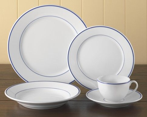 Apilco Tradition Blue Banded 5 Piece Place Setting From Williams