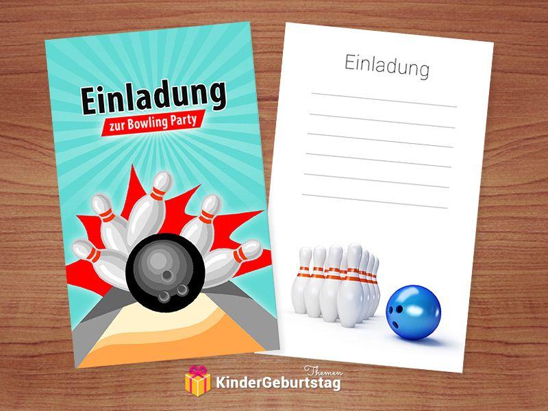 einladung kindergeburtstag bowling (kegeln): kostenlose