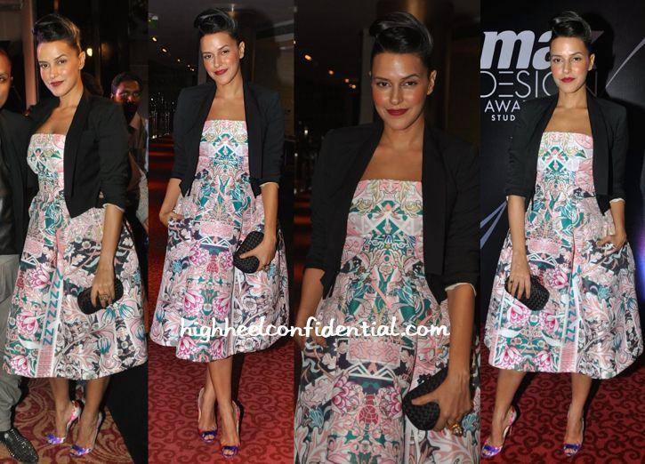 Neha Dhupia In Mary Katrantzou At Max Design Awards 2014-1