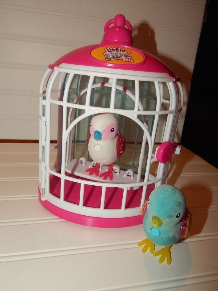 Little Live Pets Birds White And Blue W White Pink Cage Super