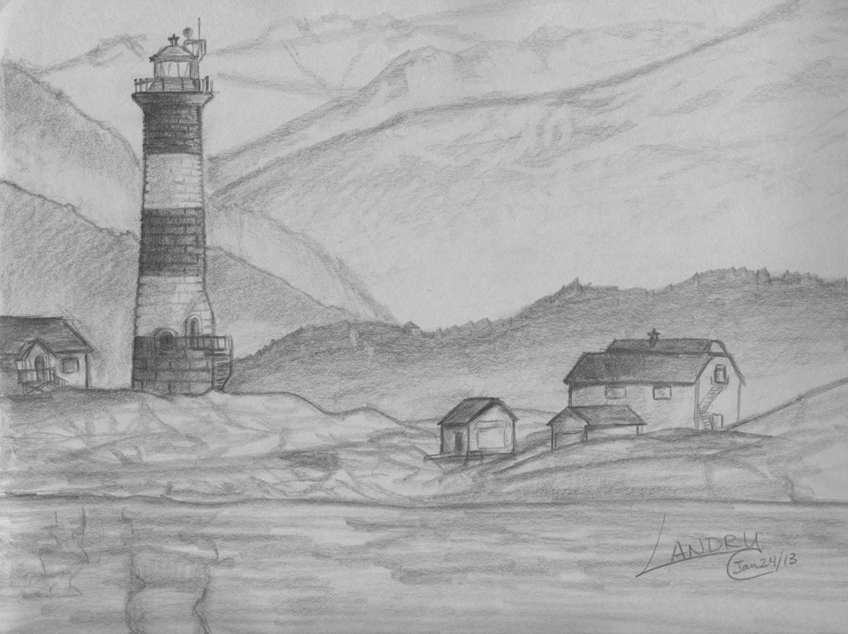 Image Result For Easy Pencil Drawings Of Scenery Landscape Drawing Easy Landscape Pencil Drawings Landscape Drawings