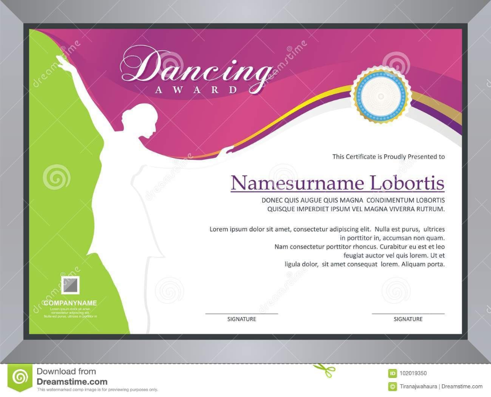 Dancing Award Stock Vector Illustration Of Competition Intended For Dance Certificate Template Certificate Templates Professional Templates Business Template [ 810 x 1000 Pixel ]