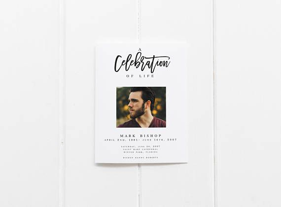Modern Black And White Funeral Program Template Obituary Template