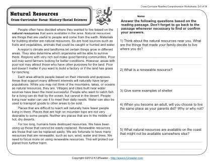 Natural Resources Cross Curricular Focus History Social Sciences