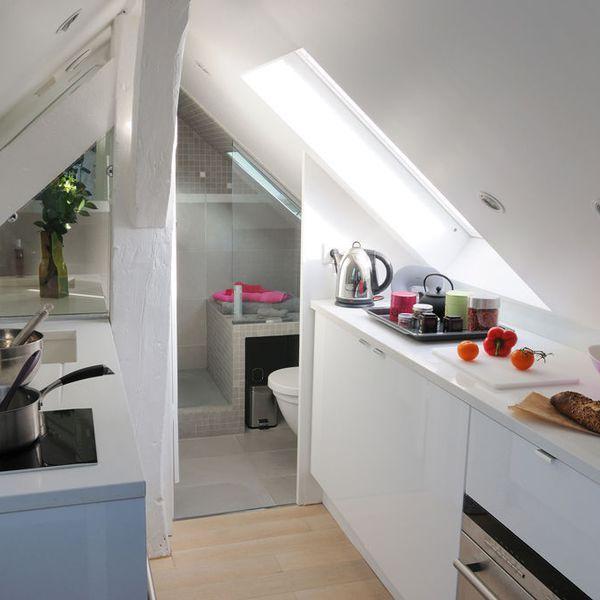 Studio paris un super 16 m2 sous les toits cuisine pinterest - Sous location chambre de bonne paris ...
