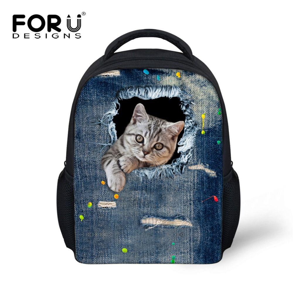 ba7b3429d9a Mini Kindergarten School Backpack Animal Cute Cat Printing Kids Girls  Bagpack Canvas Fashion Baby Rucksack Gift Casual Backpack
