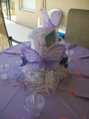 Purple Butterfly Diaper Cake For Butterfly Themed Baby Shower.