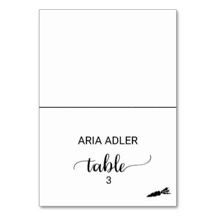 Black Calligraphy Vegetarian Meal Option Placecard Card