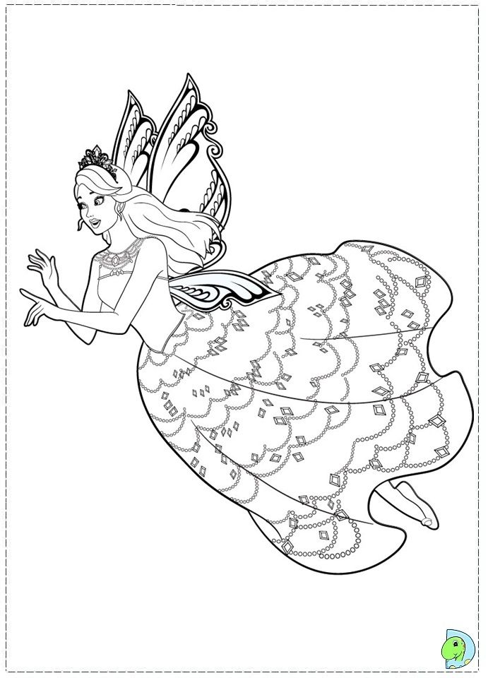 Barbie Fairy Princess Coloring Pages Princess Coloring Pages