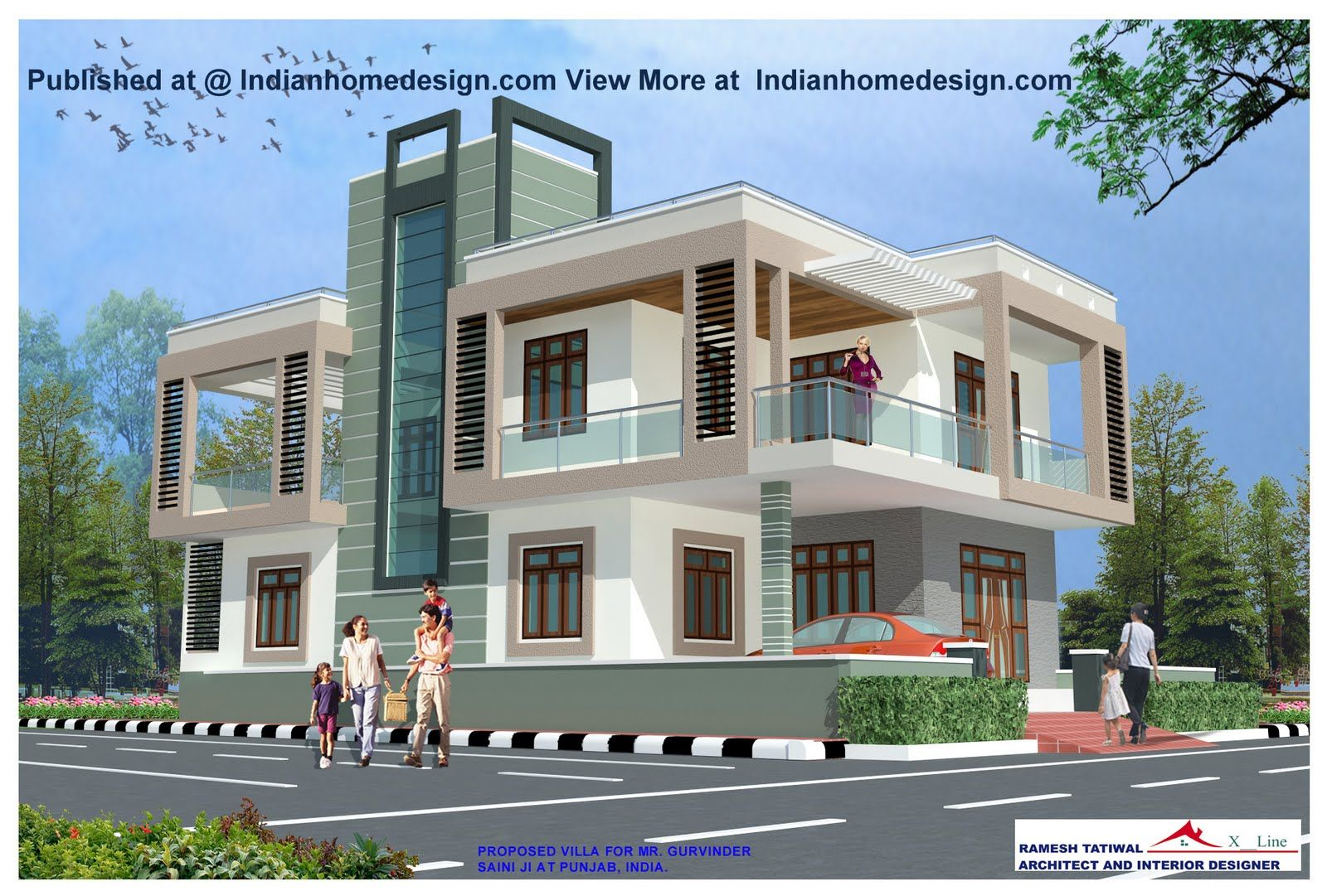 Modern exteriors villas design rajasthan style home for Front house exterior design