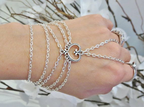 Slave Bracelet Bracelet Ring Heart Love by TheMysticalOasisGlow, $25.00