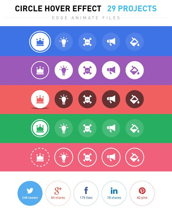 Circle Hover Effects animated, animation, button, buttons, circle