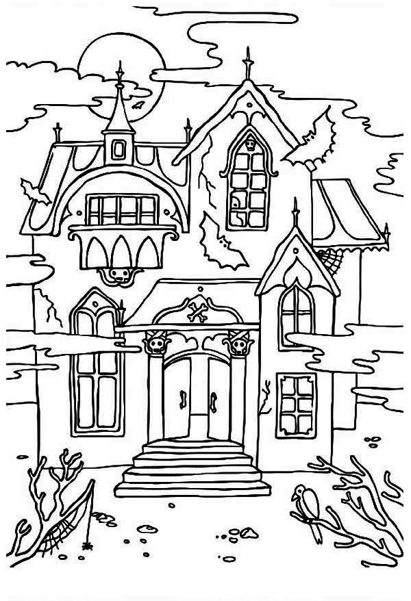 haunted house with sound of crow coloring page haunted house with