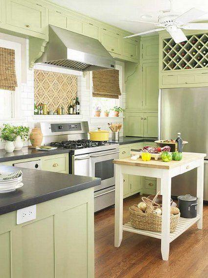Decora tu cocina de color verde | Decoración de cocina verde, Cocina ...