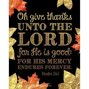 Bible Verse Print Thanksgiving Decor Psalm 136 Oh give ...