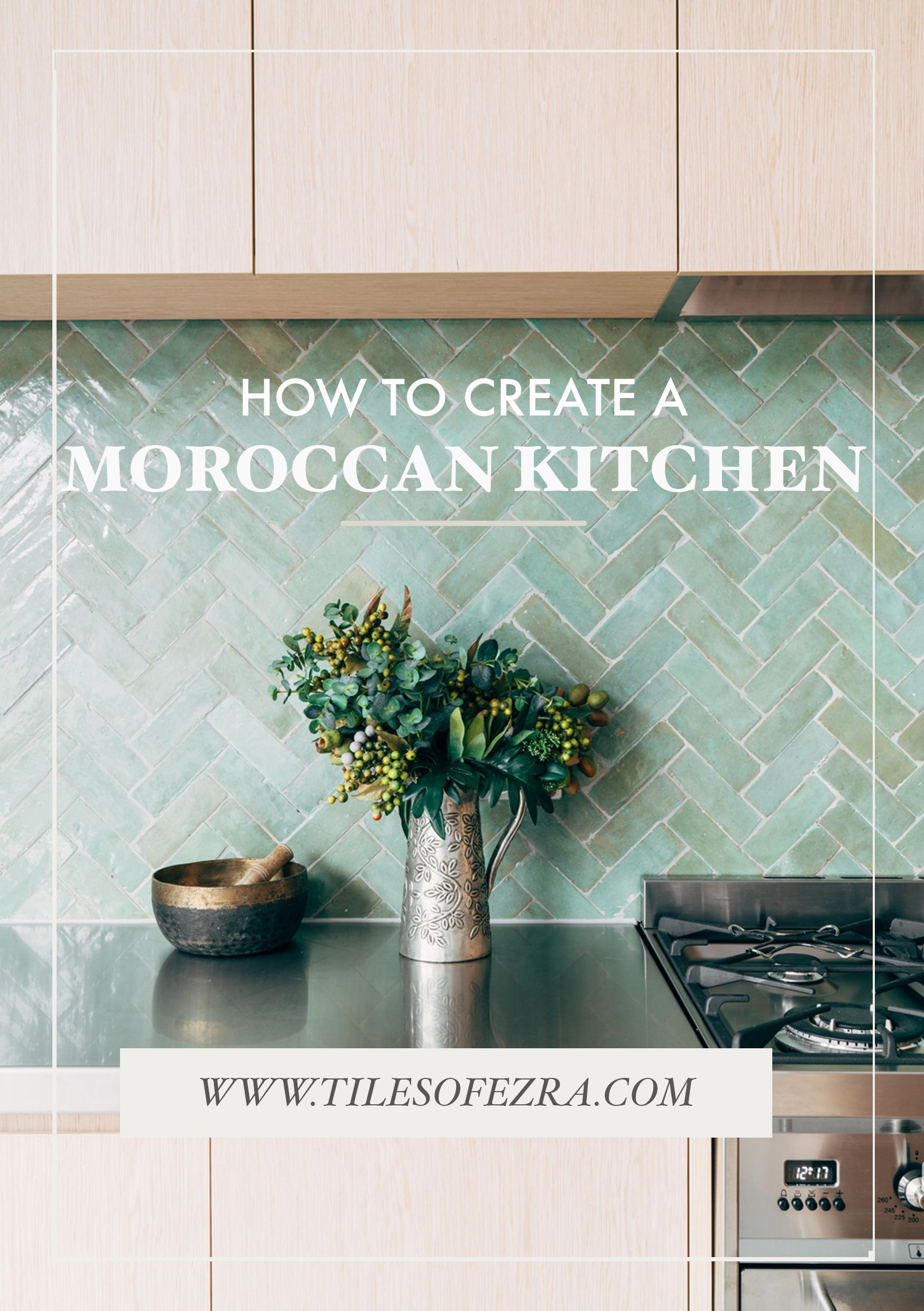 How to create a moroccan kitchen! Want to take your kitchen to the next level? Be sure to use these stunning Moroccan kitchen tiles available from TILES OF EZRA and take your home decor from drab to FAB. The tile used to achieve this beautiful Moroccan style was the FL006 in colour Aqua. These decorative tiles are a must - a good idea for a kitchen splashback or decorative wall!! This tile and loads more available at www.tilesofezra.com #kitchensplashbacks
