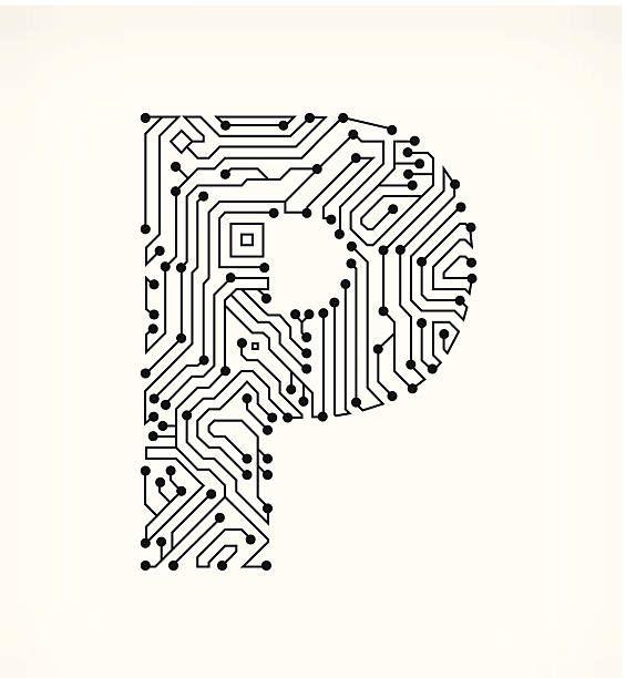 Letter P Circuit Board on White Background vector art illustration ...