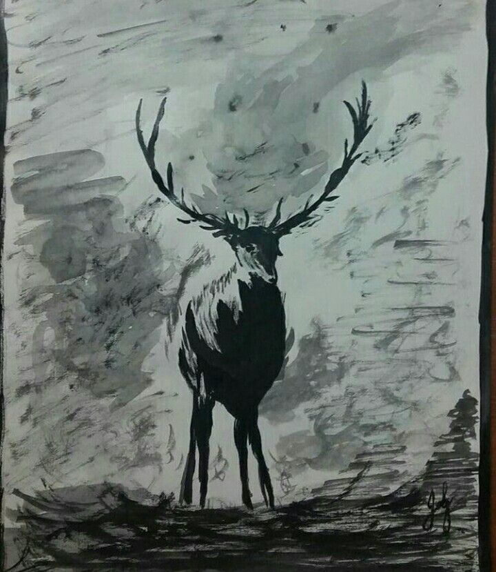 Deer painting, black and white.