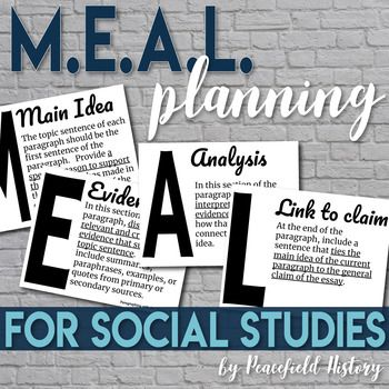 Photo of MEAL Plan Acronym Paragraphing Posters