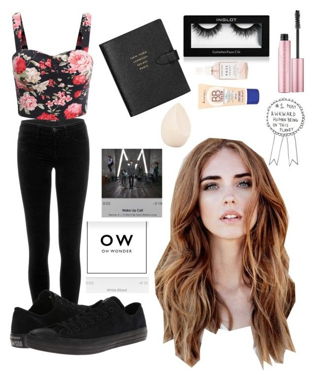 """""""hey"""" by scatteredstripes ❤ liked on Polyvore featuring beauty, Inglot, J Brand, Smythson, Too Faced Cosmetics, Rimmel, Christian Dior, Herbivore Botanicals and Converse"""