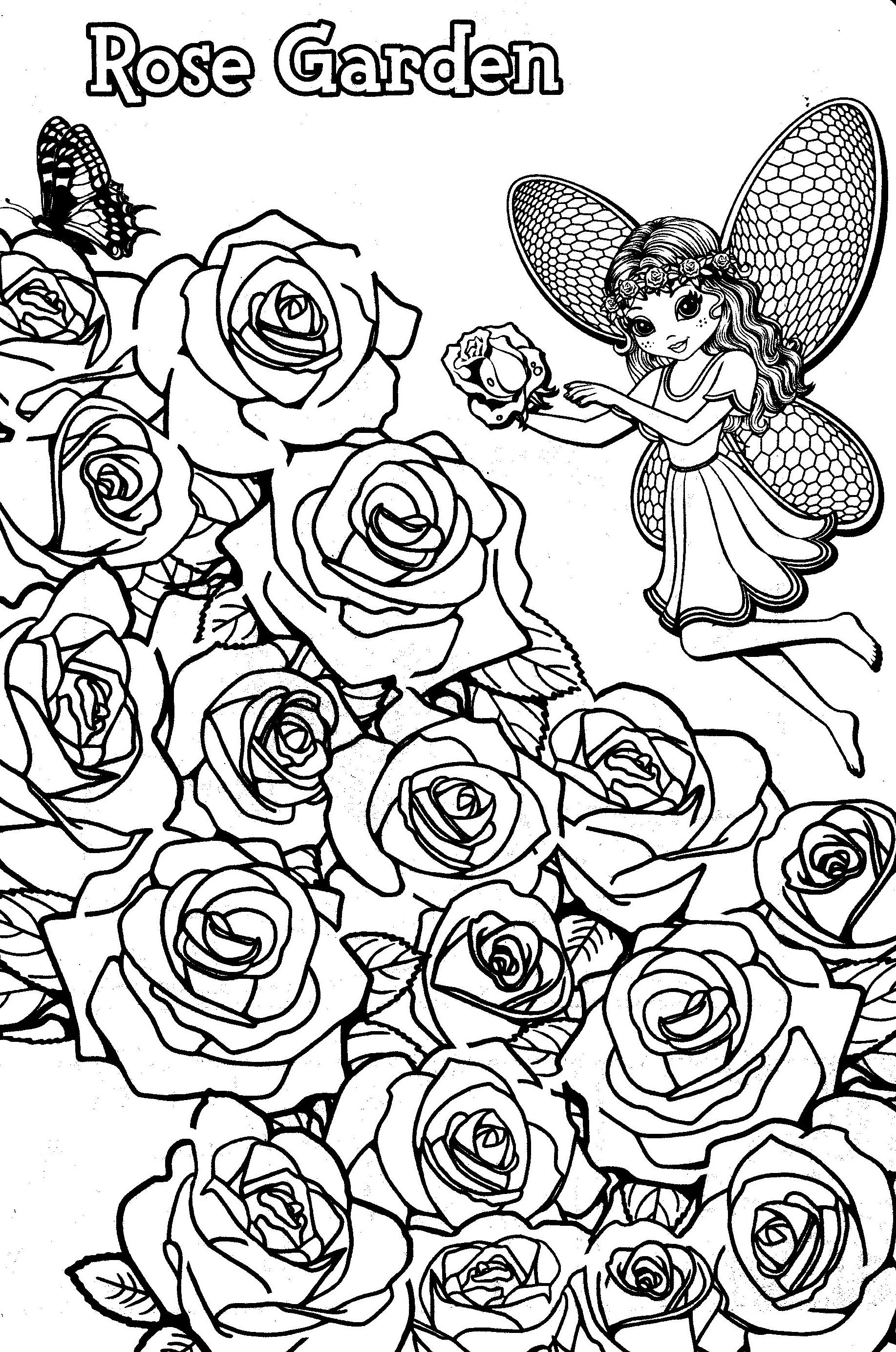 Lisa frank coloring pages to color online - Lisa Frank Coloring Pages Rose Garden Fairy