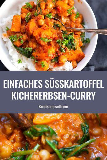 Süßkartoffel-Kichererbsen-Curry mit Spinat #vejetaryentarifleri