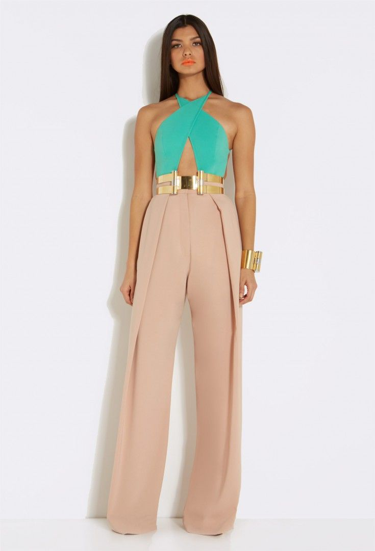 AQ/AQ Percy Nude Wide Leg Trousers with Front Pleats