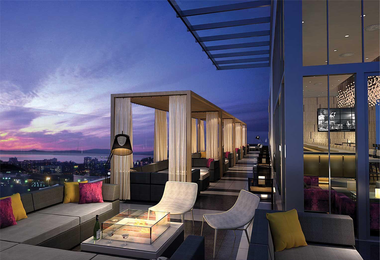 rooftop club, hilton garden inn, staten island   landscape and