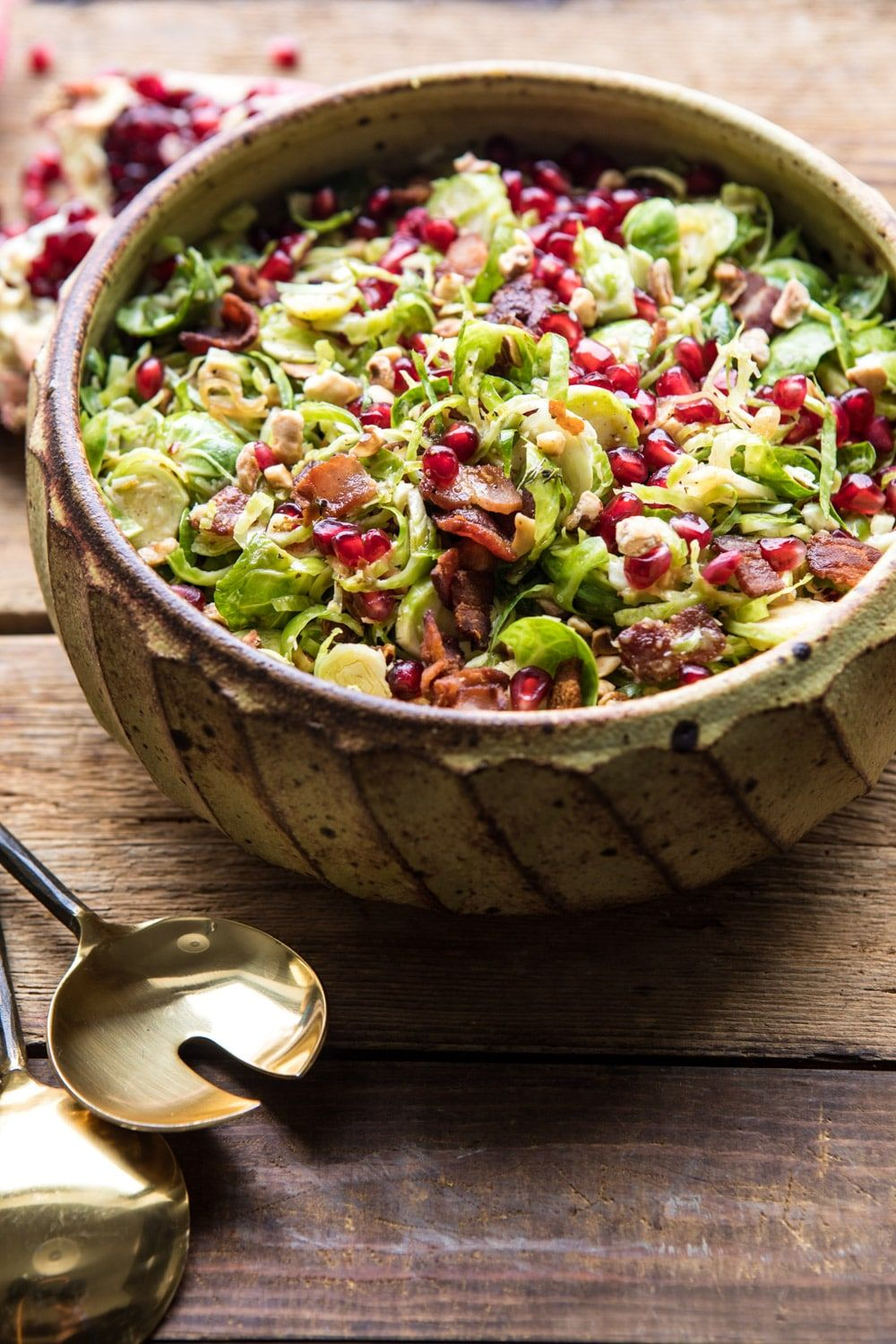 Shredded Brussels Sprout Bacon Salad with Warm Cider Vinaigrette