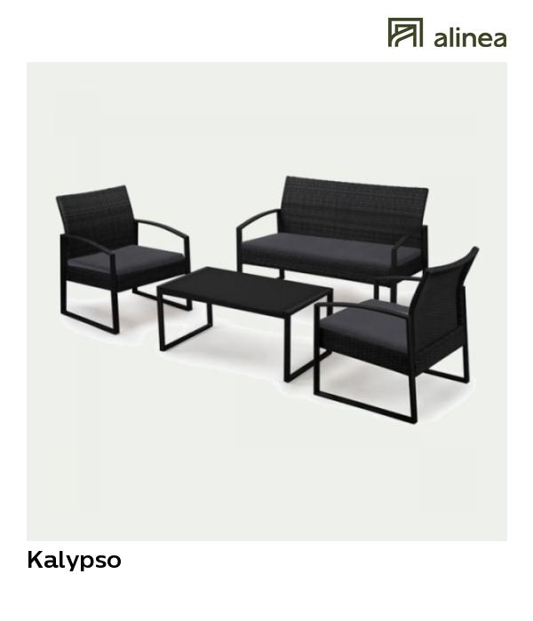 alinea : kalypso salon de jardin noir effet rotin tressé (4 ...
