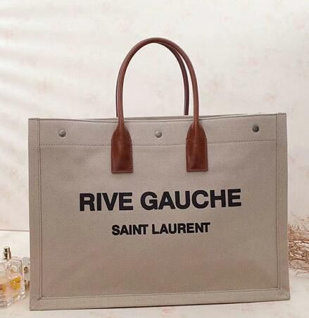 c14b9eaf506b 2018 cheap Saint Laurent Rive Gauche Tote Bag in Beige Linen and Brown  Leather