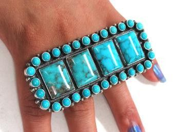I could fuck a bitch up with this badass ring!!! Ring by Anthony Skeets (Navajo) -Kingman turquoise and sterling silver
