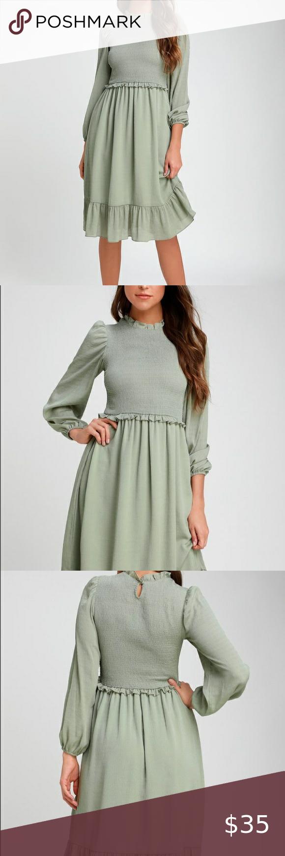 Nwt Lulu S Smock Dress Smock Dress Long Sleeve Midi Dress Lulu Dresses [ 1740 x 580 Pixel ]