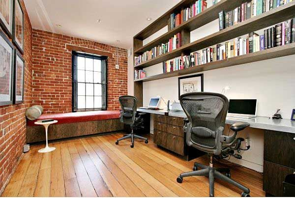 Awesome Home Office Brick Wall Idea