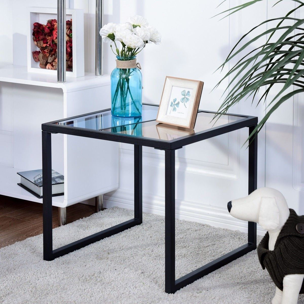 Livingroom Square Side End Table W Tempered Glass Top Modern